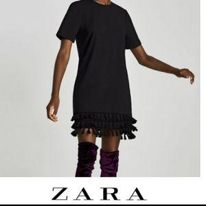 Zara black mini dress with pom poms